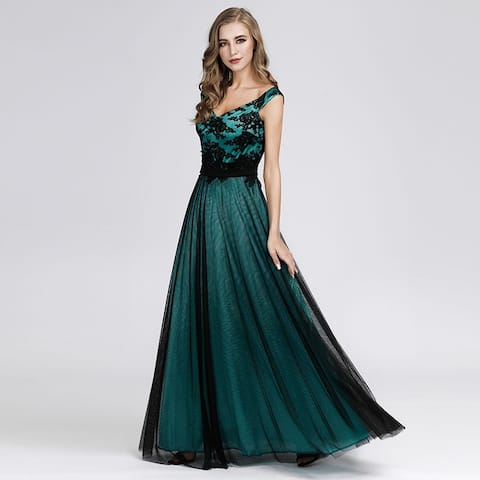 Ever-Pretty Women's Lace Tulle Long Evening Prom Homecoming Party Dress 07912