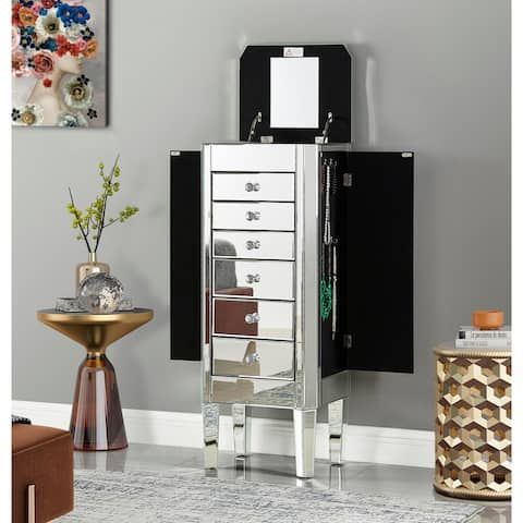 Jorge Mirrored Jewelry Armoire with 6 Drawers