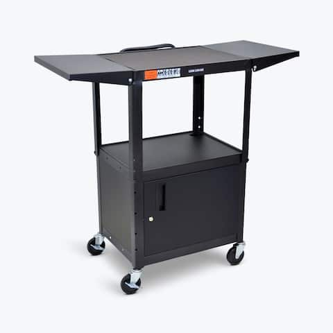 Luxor Adjustable Height Steel AV Cart w/ Cabinet, Drop Leaf