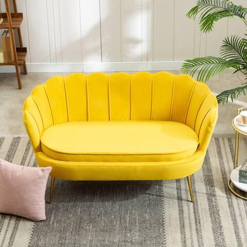 Elegant Velvet Flared Arm Sofa Loveseat