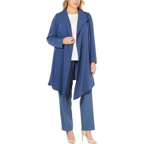 Anne Klein Womens Plus Jacket Drapey Open Front