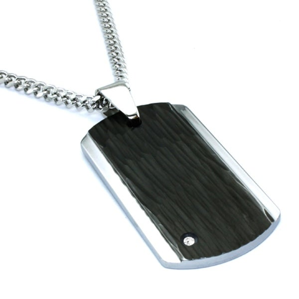 Tungsten Carbide Dog Tag Pendant w/ CZ