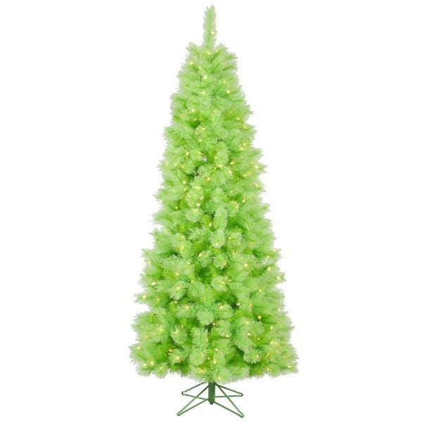 7.5' Pre-Lit Lime Green Mixed Pine Cashmere Christmas Tree - Clear Lights