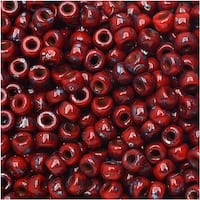 Czech Glass Matubo, 8/0 Seed Bead, 8 Gram Tube, Opaque Coral Red Picasso