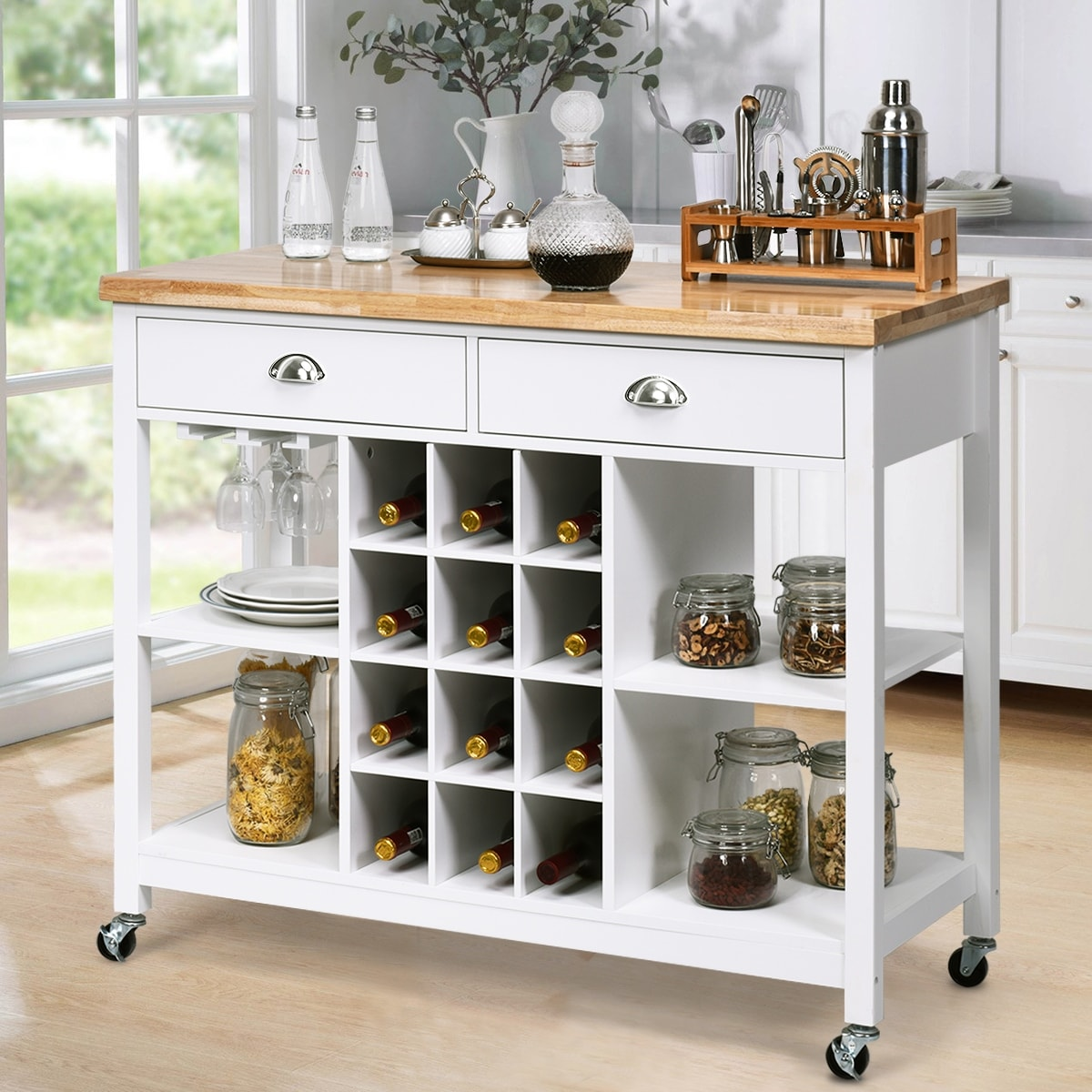 Costway Rolling Kitchen Island Bar
