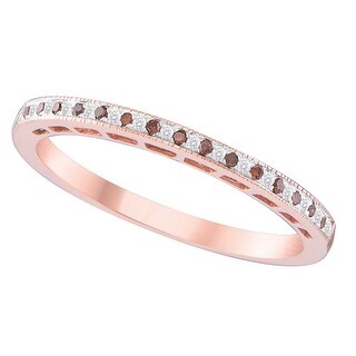 10kt Rose Gold Womens Round Red Colored Diamond Slender Band Fashion Ring 1/12 Cttw - White