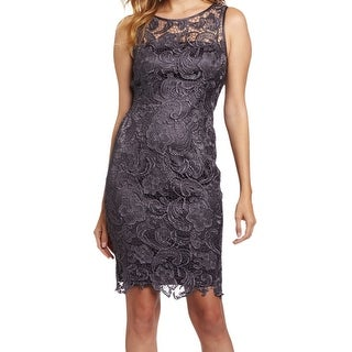 Adrianna Papell NEW Charcoal Gray Women's Size 2 Crochet Sheath Dress