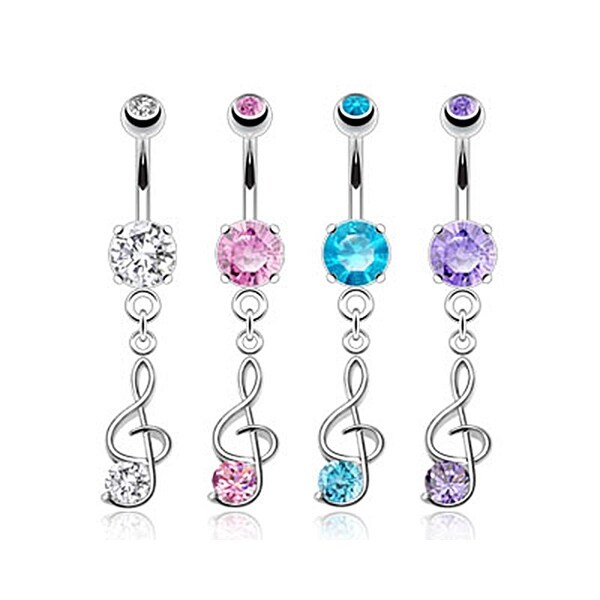 Whimsical Note with Prong Set CZ Tail 316L Surgical Steel Dangle Navel Belly Button Ring (Sold Ind.)