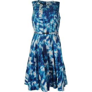 Calvin Klein Womens Pleated Tie-Dye Wear to Work Dress - 8