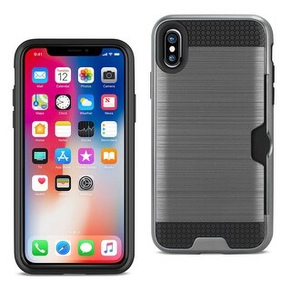 Reiko Iphone X Slim Armor Hybrid Case With Card Holder In Gray