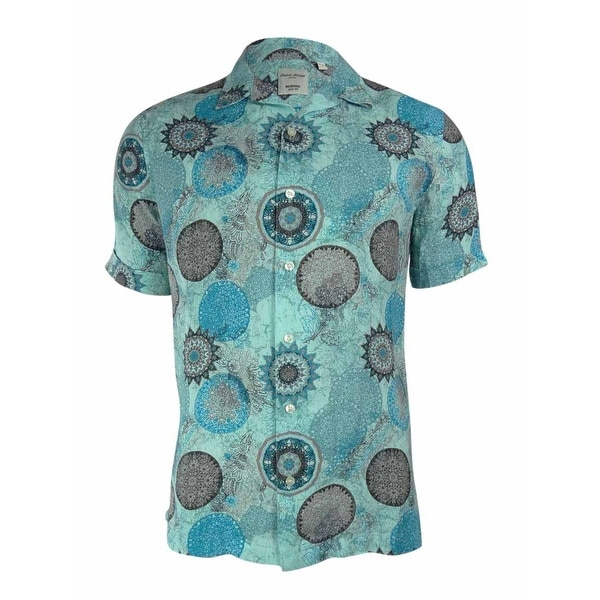 Murano Men's Slim Fit Medal-Printed Linen Shirt - Blue - L