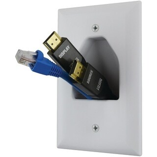 DATACOMM ELECTRONICS 45-0011-WH Midsize 1-Gang Recessed Cable Plate