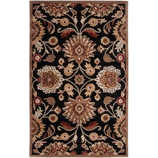 4' x 6' Octavia Coal Black and Maroon Red Hand Tufted Wool Area Throw Rug