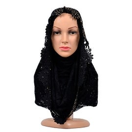 Muslim Lace Hollow Macrame Zircon Scarf Kerchief Hat black