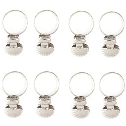 Stainless Steel Shell Decor Window Curtain Clip Hooks Drapery Rod Rings 8 PCS - Silver Tone - Silver Tone