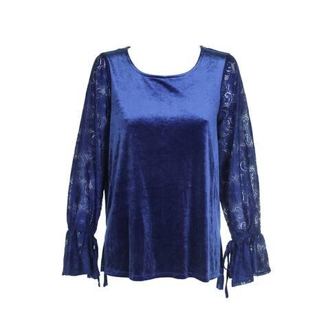 Kensie Royal Blue Lace-Sleeve Velvet Top L