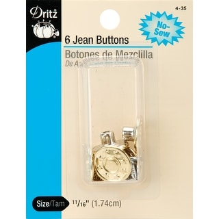 """No-Sew Jean Buttons 5/8"""" 6/Pkg-Gilt - gilt"""