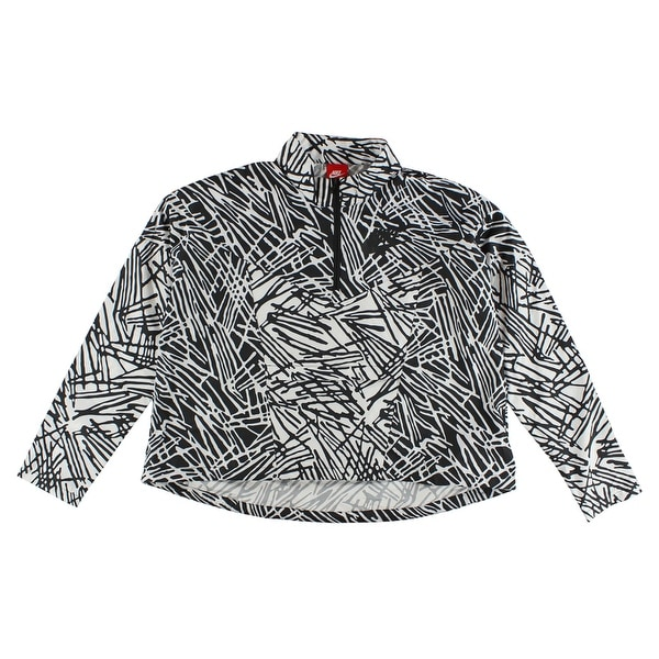 01a344e2703ce Shop Nike Womens Half Zip All Over Print Packable Half Zip Windbreaker White  - WHITE BLACK - M - Free Shipping Today - Overstock - 22574139