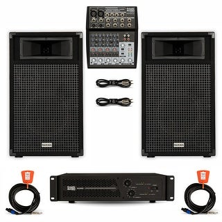 """Acoustic Audio BR10 DJ Speaker Set 10"""" Passive Speakers with Amp Mixer and Cables for PA Karaoke Band"""
