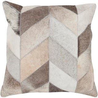 18 Cocoa Brown, White and Gray Rustic Patterned Square Throw Pillow