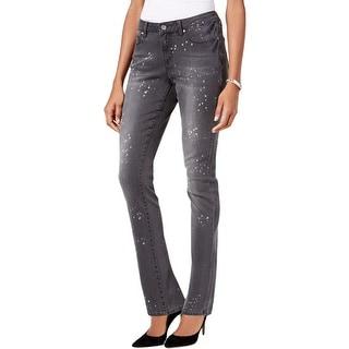 Earl Jean Womens Skinny Jeans Denim Paint Splatter