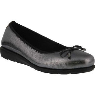 Spring Step Women's Ballerina Flat Pewter Metallic Full Grain Leather