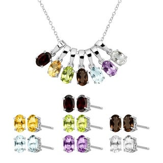 Natural Multi-Stone Pendant & Earring Box Set of 7 in Sterling Silver