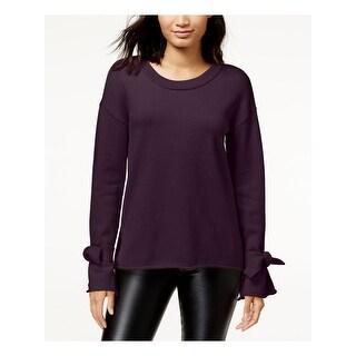 Link to BAR III Womens Purple Long Sleeve Scoop Neck Hi-Lo Sweater  Size XS Similar Items in Women's Sweaters