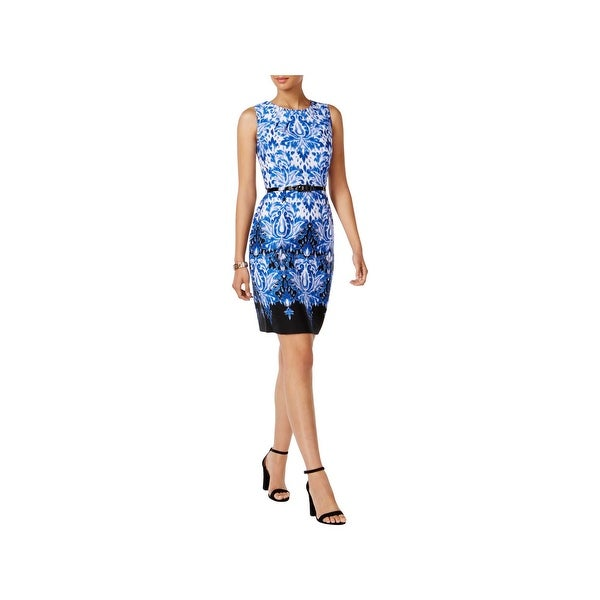 Connected Apparel Womens Casual Dress Printed Belted