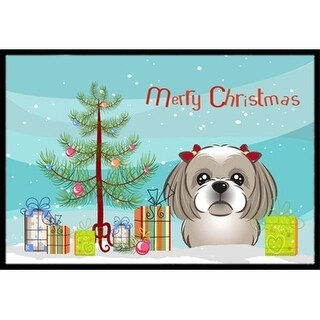 Carolines Treasures BB1622MAT Christmas Tree & Gray Silver Shih Tzu Indoor or Outdoor Mat 18 x 27