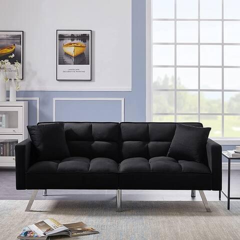 Futon Sofa Sleeper Velvet With 2 Pillows