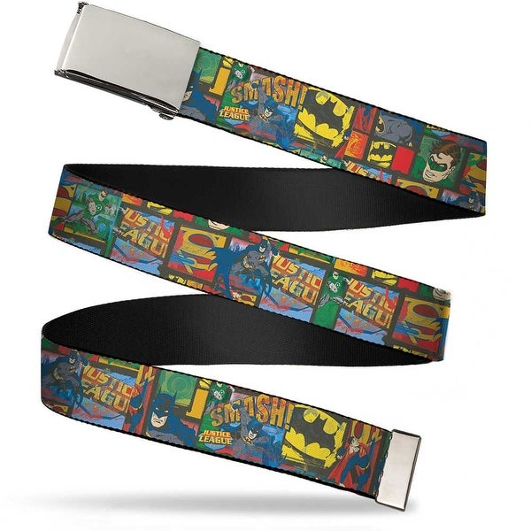 Blank Chrome Buckle Vintage Jla Character Logo Collage Webbing Web Belt