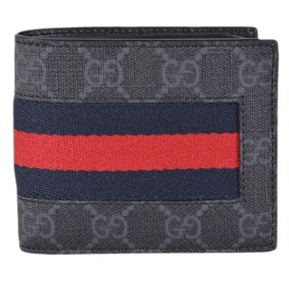 Gucci Men's Black Grey GG Supreme Canvas Blue Red Web Bifold Wallet - 4.5 x 3.5