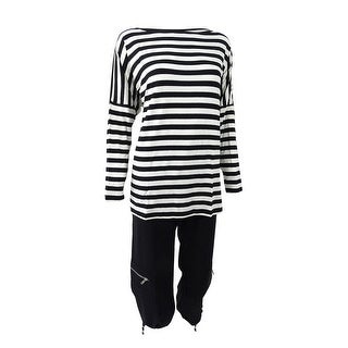 Sutton Studio Womens Over-sized Dolman Tunic & Crop Pant Set - BLACK/WHITE - S