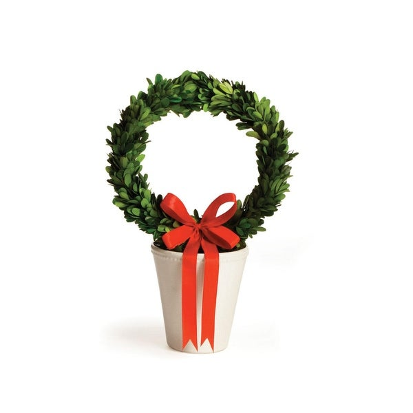 "15"" Preserved Boxwood Evergreen Wreath in Decorative Cream Planter Pot - green"