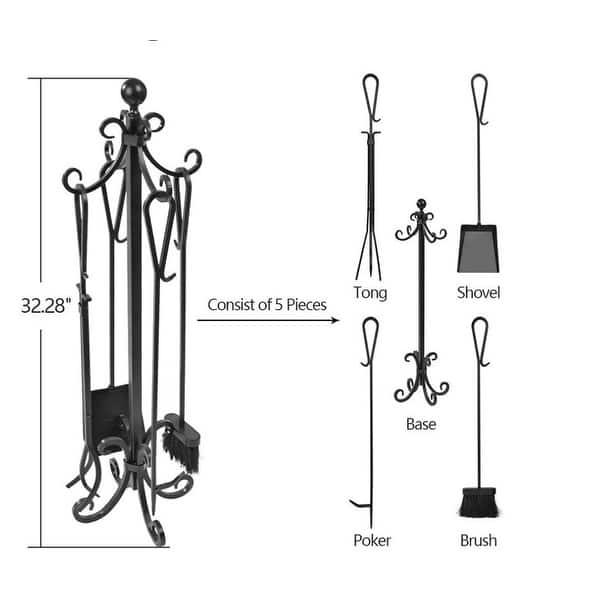 DOEWORKS Fireplace Accessories,Steel Fireside Companion Tool Set,Black,5 Pieces,64cm