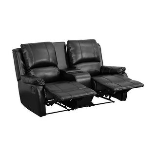 Offex Black Leather Pillowtop 2-Seat Home Theater Recliner with Storage Console [OF-BT-70295-2-BK-GG]