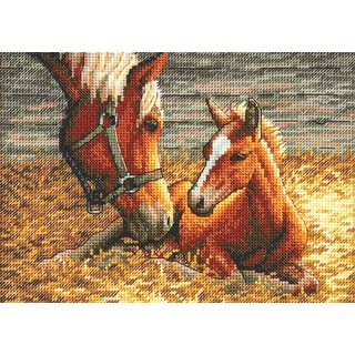 """Gold Petite Good Morning Counted Cross Stitch Kit-7""""X5"""" 18 Count"""