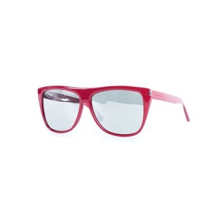 Saint laurent Womens SL1 Red Rectangular Sunglasses Silver Gradient