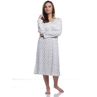 Body Touch Women's Classic Scoopneck Long Sleeve Nightgown - Ivory/Blue