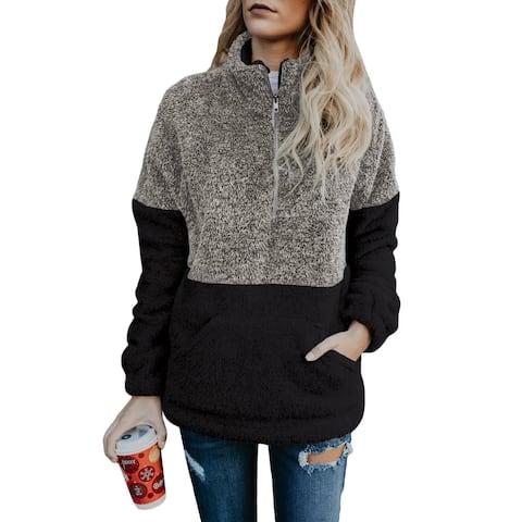 Cali Chic Women's Sweatshirt Celebrity Grey Taupe Zip Neck Oversize Fluffy Fleece Pullover Sweatshirt