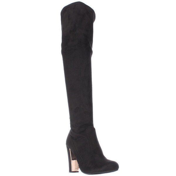 MG35 Priyanka Back Lace Over The Knee Boots, Black Smooth