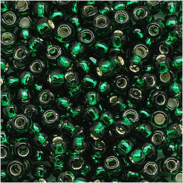 Toho Round Seed Beads 8/0 36 'Silver Lined Green Emerald' 8 Gram Tube. Opens flyout.