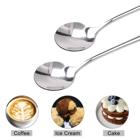 """7.7"""" Long Handle Iced Spoon Stainless Steel Handle Scoop for Kitchen"""