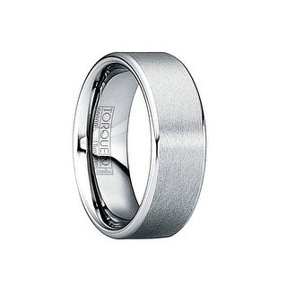 LUCANUS Brushed Matte Tungsten Ring with Beveled Polished Edges by Crown Ring - 6mm