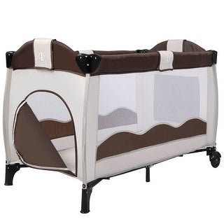 New Coffee Baby Crib Playpen Playard Pack Travel Infant Bassinet Bed Foldable - Brown