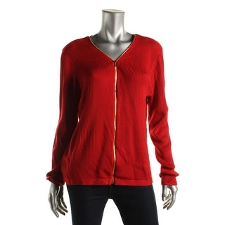 Calvin Klein Womens Ribbed Knit Stretch Full Zip Sweater
