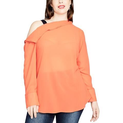 Rachel Rachel Roy Womens Plus Blouse Asymmetrical Cold Shoulder