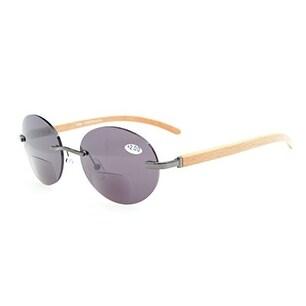 Eyekepper Spring Hinges Rimless Round Bifocal Sunglasses Gunmetal/Grey Lens +1.75