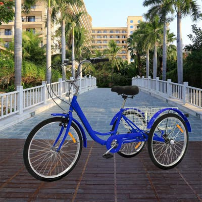 """Assembleasily Adult Tricycles 24 inch 7 Speed 3 Wheel Bikes Adult Trikes Bicycles with Shopping Basket Blue Teens - 24"""""""
